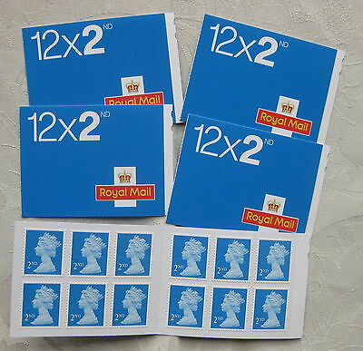 GB Mint Gummed Stamps FV £33  Five booklets of 12 x 2nd class stamps.
