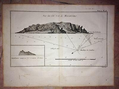 CHILI MAS AFUERA ISLAND  by COOK 1776  XVIIIe CENTURY COPPER ENGRAVED MAP