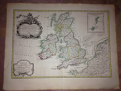 GREAT BRITAIN & IRELAND 1772 by JANVIER & LATTRE LARGE COPPER ENGRAVED MAP