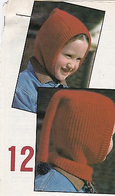 Child's Pull-On Hood Pattern For Machine Knitting