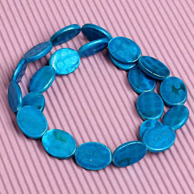 Blue Mother Of Pearl Shell Flat Oval Spot Loose Beads