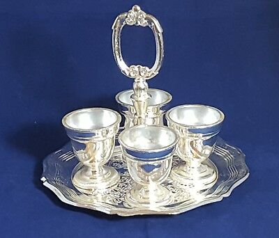 Beautiful Silver plated Egg Cups on a Tray.