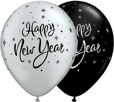 Happy New Year 5 Latex Balloons Party Decorations Silver Black Helium