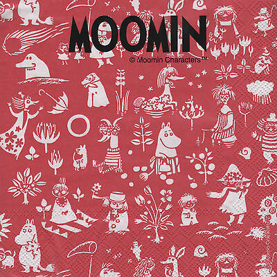 Moomin Paper Napkins Characters Red 33 x 33 cm, 20 pcs