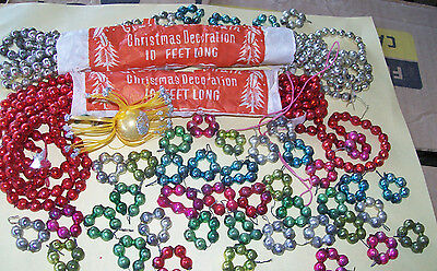 Antique Japan Beaded Christmas Garland, 2 10-Ft Plus 55 Glass Bead Circles