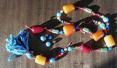 VINTAGE ETHNIC BEAD NECKLACE  + loose beads , AMBER COLOUR AND VENETIAN