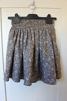 Next - Girl's Brown Flowered Lined Skirt - Age 10 - New Without Labels