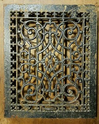 "Ornate Cast Iron Heating Grate Register Vent Return Fits 12"" x 15.25"" Hole"