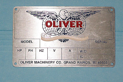 OLIVER  MACHINERY  - Motor Nameplate