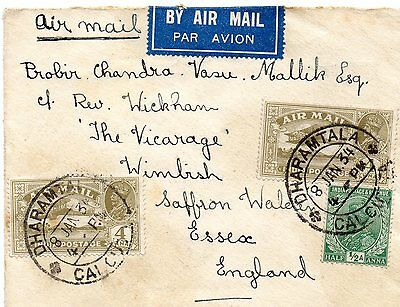 Air mail cover from India to Saffron Walden, Essex 1934