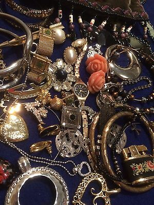 Estate Junk Drawer Lot Vintage Costume Jewelry Brooches Purse Necklaces Signed
