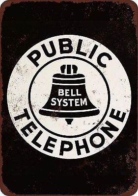 Bell System Public Telephone Vintage Look Reproduction Metal Sign 8 x 12 USA