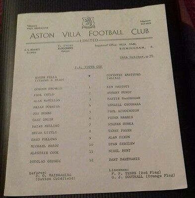 Aston Villa v Coventry Amateurs F.A Youth Cup Programme 26/10/70