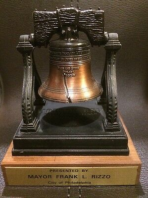 Philly Bicentennial Liberty Bell Metal model Presented By Mayor Frank Rizzo 1976