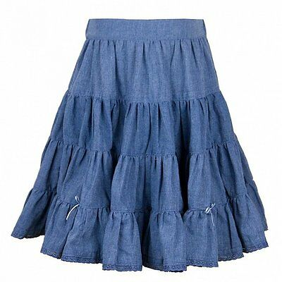 "BNWT Girls ""Their Nibs""  blue chambray denim tiered skirt - Various Sizes"