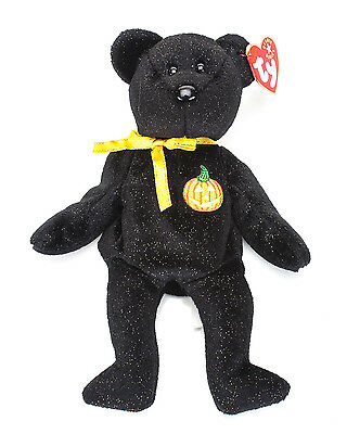 Plush Ty Beanie Baby Haunt Bear Mint With Tags 2001 Black Gold Glitter Halloween