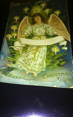Old greetings postcard christmas angel glitter publ glesen bros posted early 190