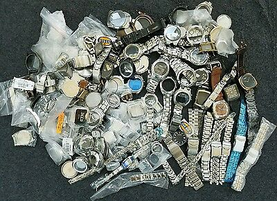 Lot of 11 Pounds of Fossil Mixed Watch Parts Bands Cases Backs Clasps 5551
