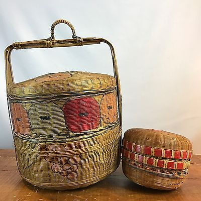 Vintage Antique Asian Chinese Rattan Bamboo Wedding / Sewing Basket Stacking
