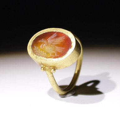 "Lovely Ancient Roman Gold Intaglio Ring ""peace""  Circa 2Nd Century Ad"