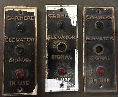 (3) Vintage brass Lift button  plate old Shorts Elevator CAR LIFT SIGNAL PLATE