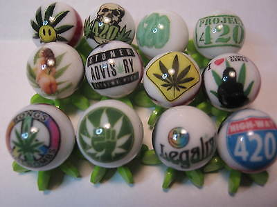 """4:20 Marijuana Weed Pot Legalization  5/8"""" Glass Marbles Collection + Stands"""