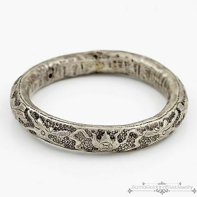 Antique Vintage Victorian Sterling Silver Indo Chinese Repousse Dragon Bracelet