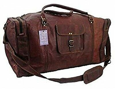 Handolederco. 24 Leather Overnight Bag Weekend Duffle Travel Cabin Holdall Gym
