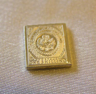 Solid Silver Stamp Newfoundland Canada 1860 One-Shilling Heraldic Flowers