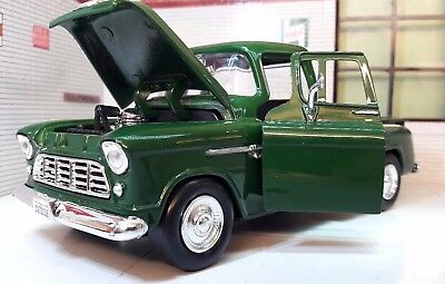 G LGB 1:24 Scale 1955 Chevy Chevrolet Stepside Pickup Green Diecast Model Truck