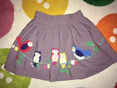Mini Boden Applique Skirt - Heather/Purple Birds & Owls Age 6-7