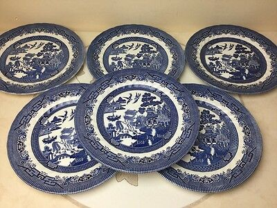 Vintage Royal Wessex 6 x Blue Willow Blue & White Dinner Plates Mint Condition