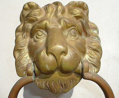 Vintage / Antique  Lion Head Brass Door Knocker. Wild looking Lion Head plaque.