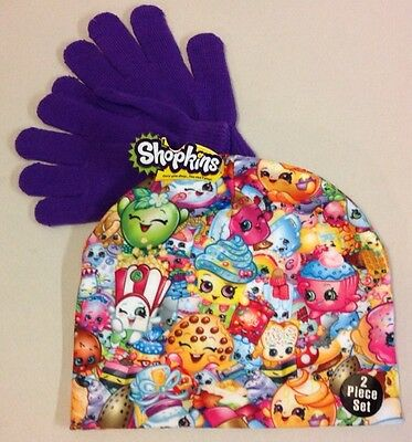 New Shopkins Girls Winter Hat Gloves Set Cap Size Small Beanie