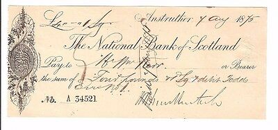 THE NATIONAL BANK OF SCOTLAND cheque from 1875