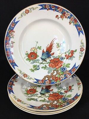 Wood & Sons England 1917 Bird of Paradise China Set Of Four Dinner Plates