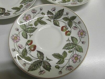 3 Wedgwood Bone China Strawberry Hill Spare Saucers. Vgc.