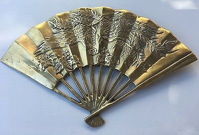 "Vintage Brass - 11 1/2"" x 7"" Chinese Decorative Fan Phoenix Dragon Wall Hanging"