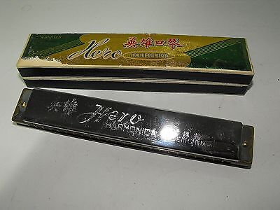 Vintage Hero 48 Hole Wooden Frame Harmonica C Key Looking As New With Box