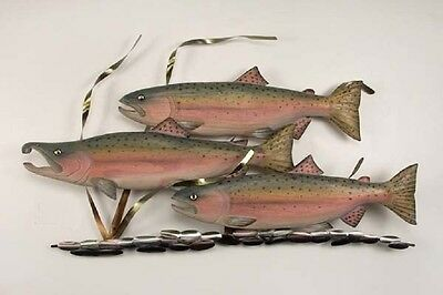 Coastal Art Designs Hand Carved Wooden Coho Salmon w/ Metal Fish Wall Sculpture
