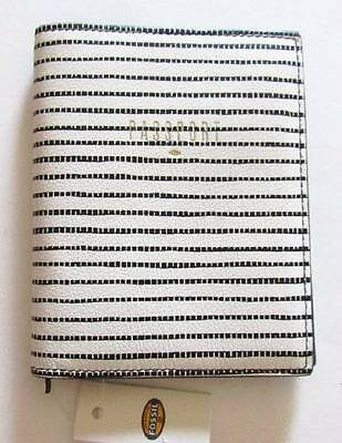 Fossil Black/White Striped Leather RFID Passport Case #SL7003080 NWT
