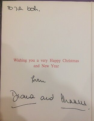 Hand Signed HRH Prince Charles and Princess Diana 1993  Christmas Card