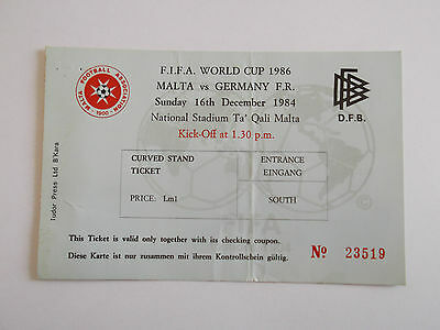 FOOTBALL MATCH TICKET - WORLD CUP 1986 - MALTA v WEST GERMANY 16TH DECEMBER 1984