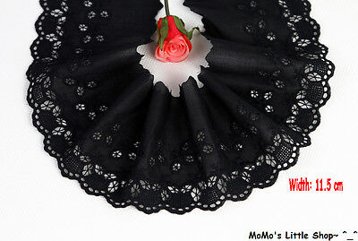 Black Floral Embroidery Scalloped 100% Cotton Fabric Eyelet Lace Trim(11.5cm)—1M
