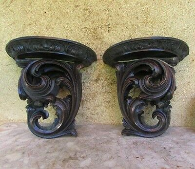 Antique Chestnut Tree Corbel Shelf / Sconce Handcarved Hanging Wall Xix C.