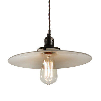 Antique Industrial Pendant Light with Milk Glass Shade, c. 1910, NC2422