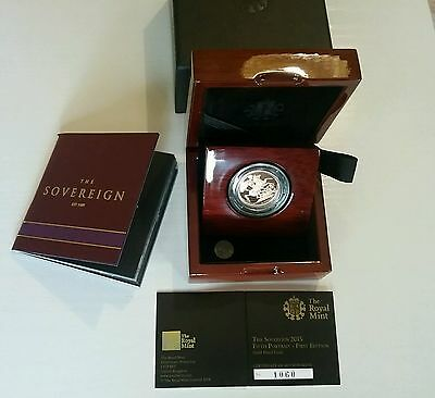 2015 Gold Proof Full Sovereign Fifth Portrait 1° Edition/sterlina Oro Collection