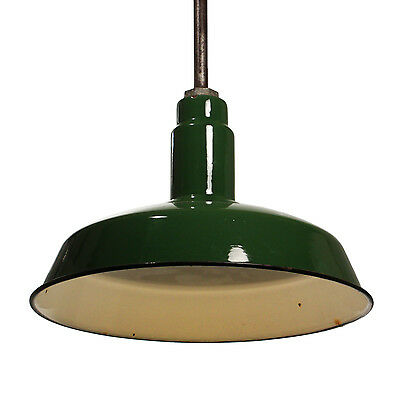 Antique Industrial Pendant Light with Green Enamel & Porcelain Shade, NC2420