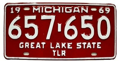 Vintage Michigan 1969 Trailer License Plate, Unused, Airstream Shasta Kenskill