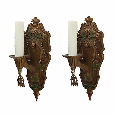 Pair of Antique Spanish Revival Sconces, Original Polychrome Finish, NSP1164
